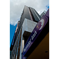 Premier Inn hotel night building architecture up purple moon