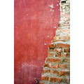 building site destruction wall red brick