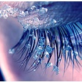 snow ice crystals macro closeup eye eyelashes blue