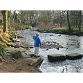 uppermill canal boy stepping stones