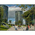 AutoStadt tower building design 2 two car cars glass architecture new