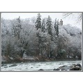 winter tower cliff river arve Geneva