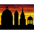 photomontage city buildings building sunset sun sky