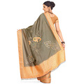 Greenish Grey Art Silk Saree with Blouse