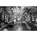a shot of Amsterdam in black and white.