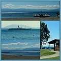 sun barbecue beach Rolle Lake Geneva Switzerland collage