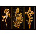 headstone art gold golden artwork triptych robin flower rose cross religious