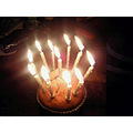 My birthday Blueberry Muffin - I did have to scream that the candles were melting all the skin of...