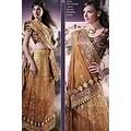 Yellow and Brown Shaded Georgette Embroidered Lehengastyle Saree _commercial
