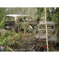Destroying in process, old junkyard for cars in Ryd, Blekinge, Sweden. Actually old Volvo PV:s.