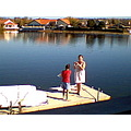 mom and my sister on my lake