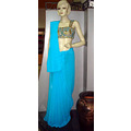 Aqua Blue Pure Georgette Saree with Blouse