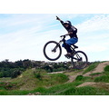 boy mtb mountainbike mountainbiker jump extreme onehander point