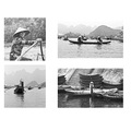 vietnam boats taxi bw Black and white
