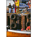 fishing boat harbour harbor pier car saab slide scan people 1990 work life