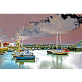 0035 Manipulated Cornwall Mevagissey UK Coast Sea Harbour Boat Sail Moored