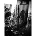 graffiti concrete wall black and white