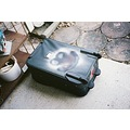 Painted Suitcase ready for colored straps useful in finding luggage in airport. - reflective tap...