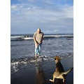 "Mister Tuc and his dog ""clash""  on the beach, today sunday"