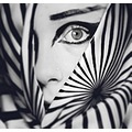 bw portrait woman play close up eye stripes composition keitology