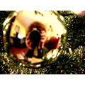 christmas lights ornaments self portrait reflection