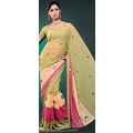 Sea Green Faux Georgette Saree with Blouse