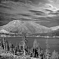trees yosemite mountain landscape bw nature lake