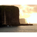 sea waterfall faroe islands nature water cliffs landscape