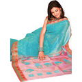 Aqua Blue Viscose Saree with Blouse