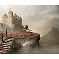 castle summer end valley view fantasy cat photocomposite