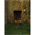 green grass stone wall iron door grid abstract surreal