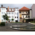 town fountain architecture Pisek Bohemia