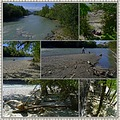 Arve river after flooding Geneva Switzerland collage