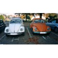 VW beetle bug volkswagen orange white car jalopy