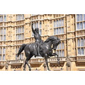 The statue of Richard I lion heart in front of the Parliament in Westminster, London, June 2011