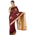 Maroon Art Silk Saree with Blouse