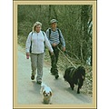 portrait walk dogs woman man road tree bush