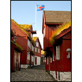 faroeislands red architecture houses grass roof old town flag iceland way path
