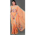 Peach Faux Georgette Saree with Blouse