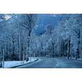 winter snow landscape street road mountain scenery