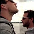 portrait men friends shape sea sunglasses composition
