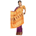 Majenta Art Silk Saree with Blouse
