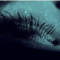 eye closeup makeup dark blue eyelashes sparkles shimmer emotion