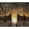 december winter park snow cat gate photomontage tree