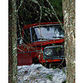 jeep truck orange Easton Washington snow winter trees