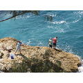 australia stradbroke island rocks coast sea firecrest fishing
