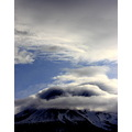 Mountain Mt Mount Shasta snow storm clouds sky blue snow volcano