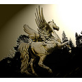 horse animals history mystique statue bw dark