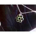flower negative pink green hand black yellow necklace chain tiny