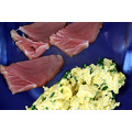 Scrambled duck egg with garlic chives and tuna (raw),